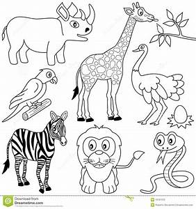 Coloring African Animals 1 Stock Vector Illustration