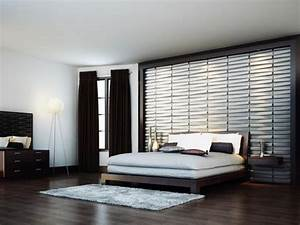 Contemporary Wallpaper In Spcious Bedroom Brown Curtain ...