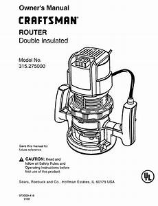 Craftsman 315 275 Owner U0026 39 S Manual Pdf Download