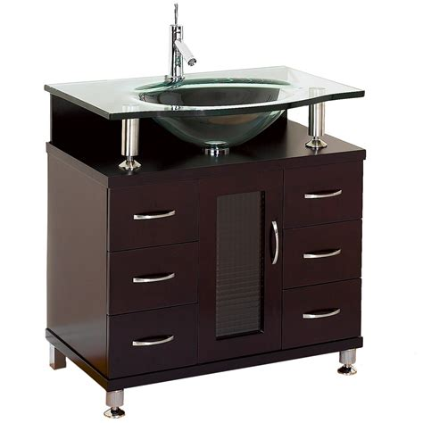 Modern Bathroom Glass Vanities by Accara 30 Quot Bathroom Vanity Espresso W Clear Or Frosted