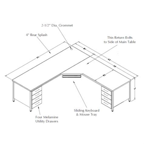 Desk Depth by L Shaped Tables At Rdm Industrial Products