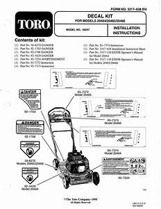 Toro Decal Kit  Models 20464  20465 And 20466 Attachment