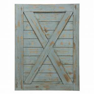 Wooden door wall decor : Blue gray wooden barn door wall art