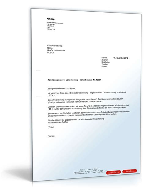 Kündigung Einer Versicherung  Mustervorlage Zum Download