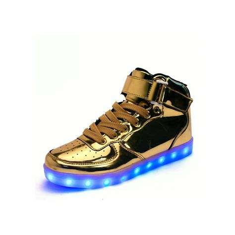 New Nike Light Up Shoes by Unisex High Tops Light Up Shoes Metallic Gold Neonjam
