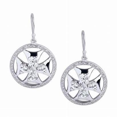 Maltese Earrings Cross Shield Science Superhero Sapphires