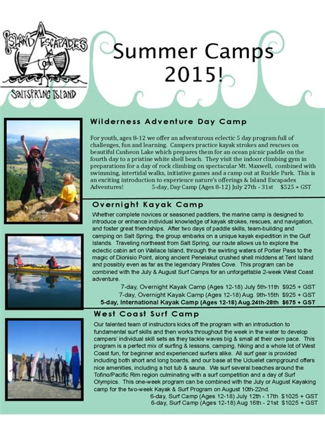 summer camp brochure template   templates