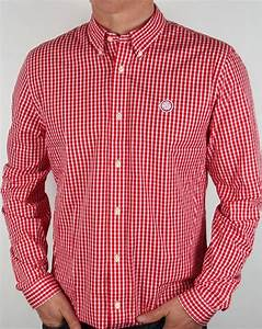 Pretty Green Red Gingham Shirt  Check Ebsworth