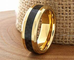 carbon fiber tungsten wedding ring yellow gold mens With carbon fiber mens wedding rings