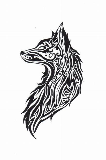 Tribal Wolf Tattoos Fox Tattoo Drawings Drawing