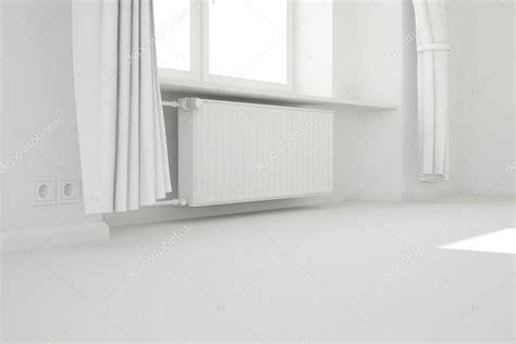 chauffage chambre vide chambre blanche avec fenêtre et système de chauffage