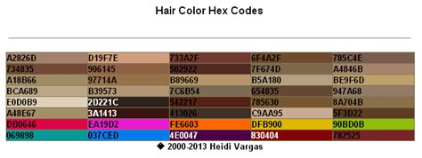 color code for brown hair color hex codes pdf