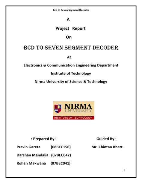 Bcd Segment Display Project