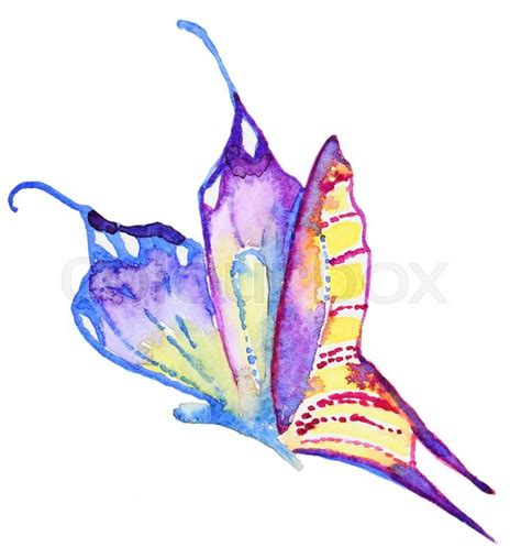 abstract watercolor hand drawn purple butterfly hand
