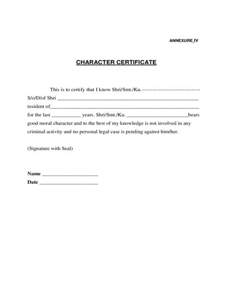 Certificate Of Conduct Template by Sle Character Certificate Free