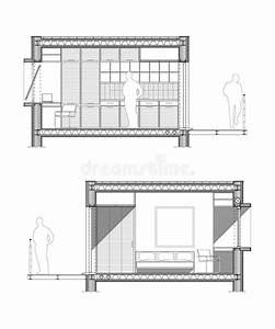 Technical Drawing Of A Section Of A Student Room Stock
