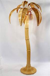 1970s large rattan coconut tree floor lamp at 1stdibs for Large tree floor lamp