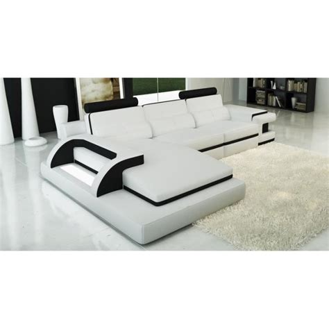 canapé d angle noir cdiscount canapé d 39 angle cuir blanc et noir design lumi achat