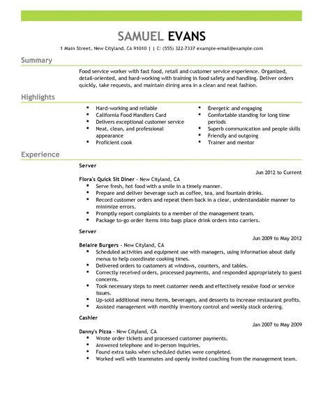 Do I Need A Resume For A Fast Food by Best Fast Food Server Resume Exle Livecareer