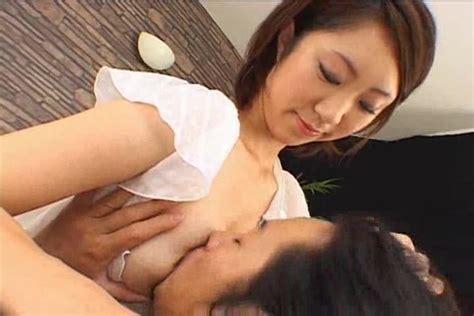 Man sucking on her breast milk for excitement - Japanese Porn