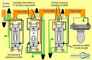 In This Basic 4 Way Light Circuit And 4 Way Switch Wiring