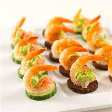 canapes with prawns finger food cucumber shrimp cocktail mix of mayo