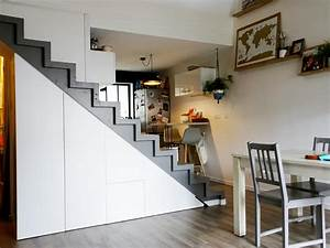 Placard Escalier : rangement sous escalier quart tournant ~ Carolinahurricanesstore.com Idées de Décoration