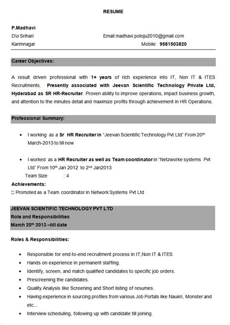 Cv Format For Experienced by Format Of Resume For Experienced Resume Exle