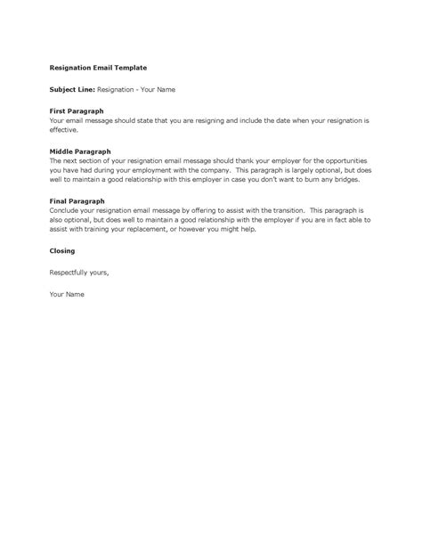 Template Resignation Email Business Email Template 2200 * 1700px Writing A Letter Of
