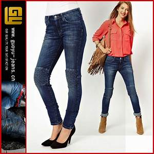 High Waisted Skinny Jeans With Quilted Knee Women Jeans ...
