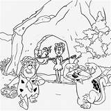 Drawing Cave Coloring Pages Flintstones Printable Prehistoric Age Cartoon Stone Drawings Colour Teenagers Saber Children Cat Caveman Easy Tooth Ice sketch template