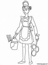 Maid Coloring Pages Drawing Drawings Printable Chambermaid Housemaid Career Fans 04kb sketch template