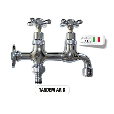 rubinetto doppio rubinetto doppio cromato lucido tandem portagomma attacco