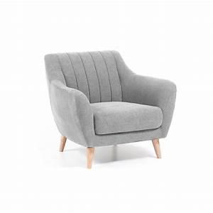 Fauteuil design scandinave confort gris clair for Fauteuil gris design
