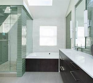 Blooming Mint Green Bathroom Contemporary With White