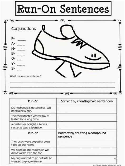 3rd grade worksheets on run on sentences correcting sentence fragments and run ons worksheet 4th