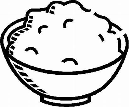 Rice Clip Clipart Bowl Porridge Plate Coloring