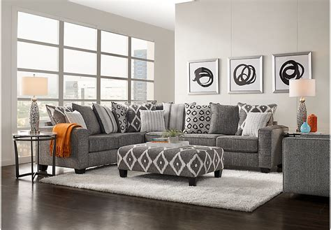Light Grey Living Room Sets by Carole Court Gray 3 Pc Sectional Living Room Living Room