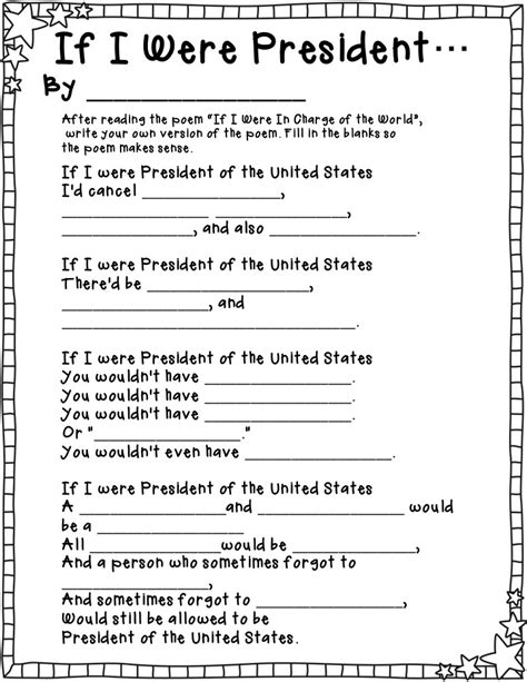 if i were president drawing page s day worksheets for