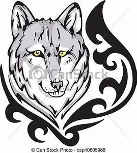 Tatouage Loup Graphique : vecteur de tatouage loup tatouage loup t te ~ Mglfilm.com Idées de Décoration