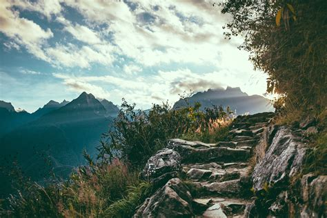 Steps Up The Mountain In Machu Picchu, Peru Image