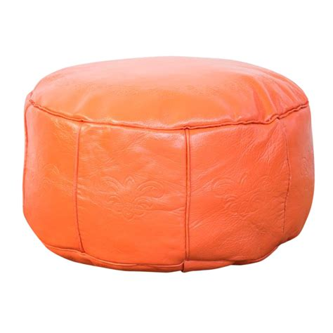 Antique Leather Moroccan Pouf  Orange Chairish