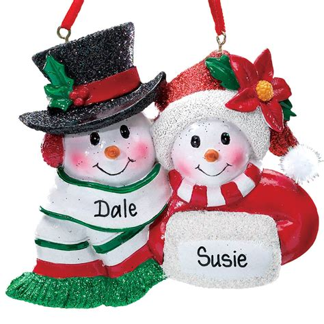 personalized snowmen couple christmas ornament miles kimball