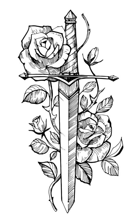 Sword with roses. tattoo sketch. hand drawn illustration. isolated on white background