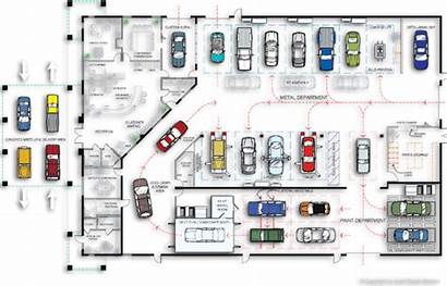 Layout Repair Floor Workshop Plans Automotive Plan