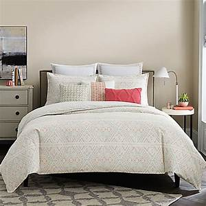 real simpler lucia reversible duvet cover in white coral With coral and white duvet cover