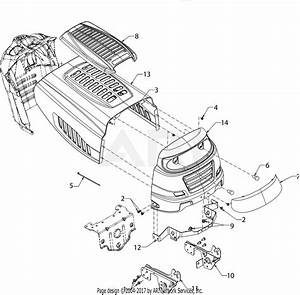 Mtd 13b2775s000  2016  Parts Diagram For Hood  U0026 Grille