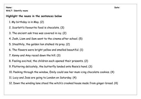 spag worksheet identify nouns by chloef23 teaching