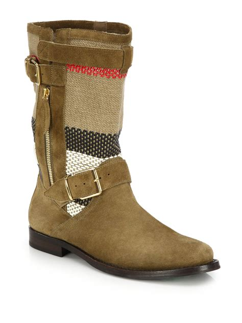 brown moto boots lyst burberry grantsone suede canvas check moto boots
