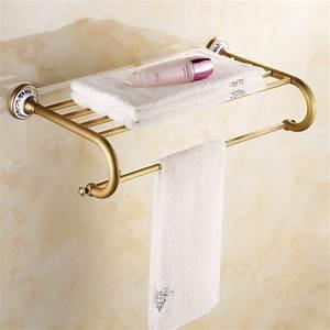 Antique, Brass, Porcelain, Towel, Rack, Bathroom, Accessories, Towel, Holder, Towel, Shelf, Wall, Mounted